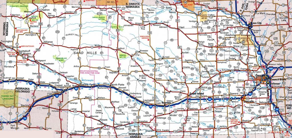Nebraska Road Map | Printable Map Of Ne Usa