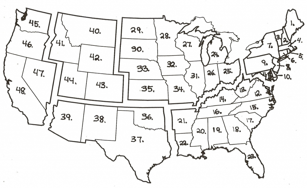 Numbered Map Of Usa Printable Refrence United States Map Blank With   Printable Us Map With Numbers