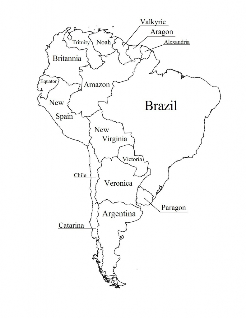 Outline Map Of South America Printable With Blank North And For New | Printable South America Map Outline