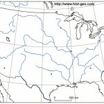 Outline Map Of The Usa (Rivers, Main Cities, Parallels, Meridians) | Us Major Rivers Map Printable