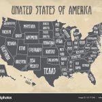 Poster Map Of United States Of America With State Names. Black And | Printable Us Map Poster