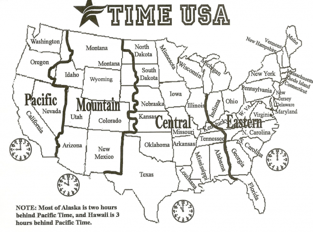 Printable Black And White Us Time Zone Map Inspirationa Printable   Printable Us Time Zone Map With Cities
