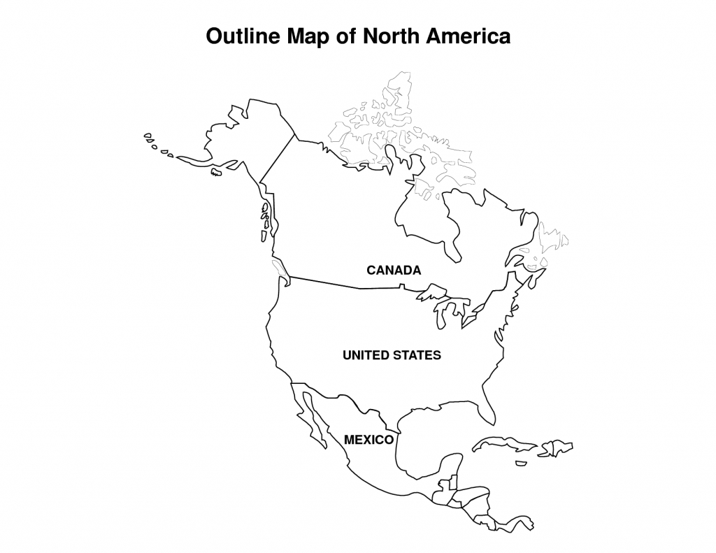 Printable Map Of North America | Pic Outline Map Of North America | Usa Map A4 Printable