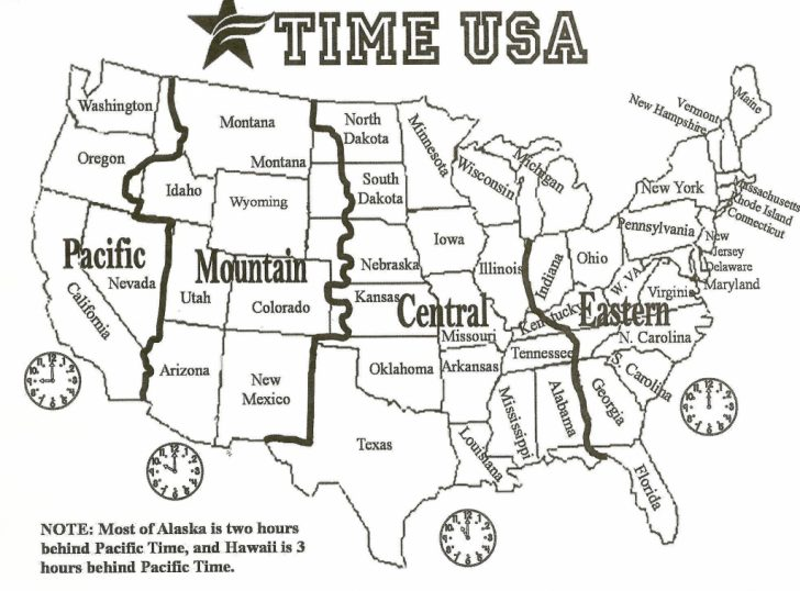 Free Printable United States Map With Time Zones