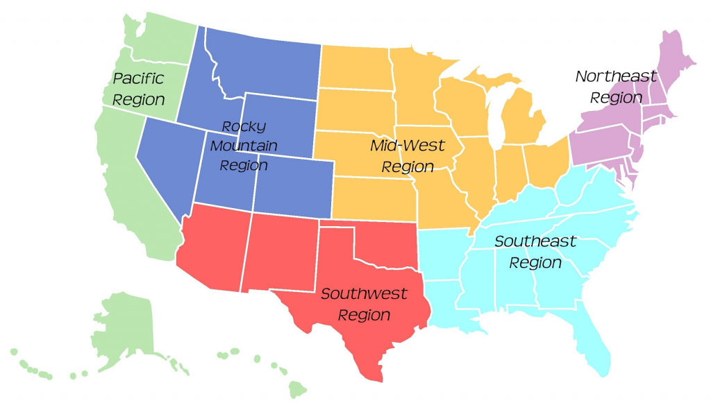 Printable Regions Map Of The United States | Printable Map Of The 5 Regions Of The United States