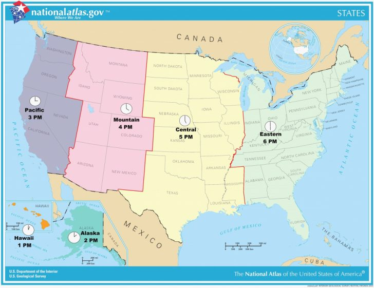 Printable Usa Time Zone Map With States
