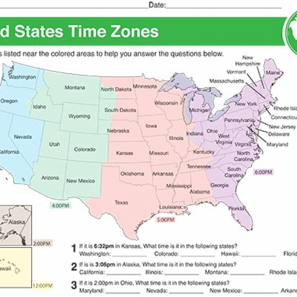 Printable Time Zone Map Usa With States Contemporary Design Us | Printable Color Us Timezone Map