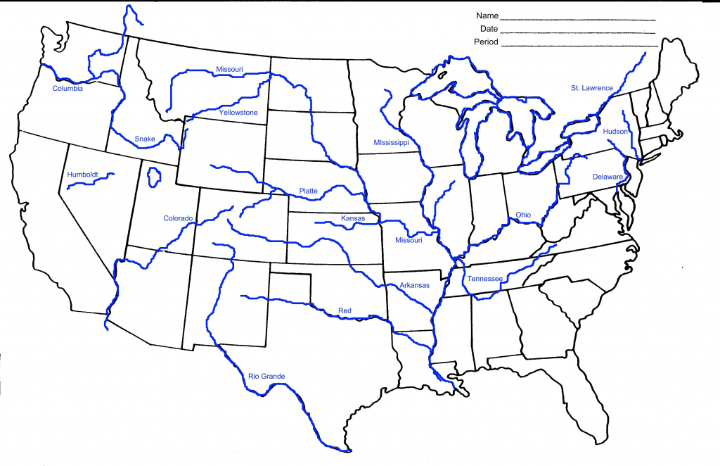 Printable United States Map With Rivers Valid Printable Us Map With | Printable Map Of Us Rivers