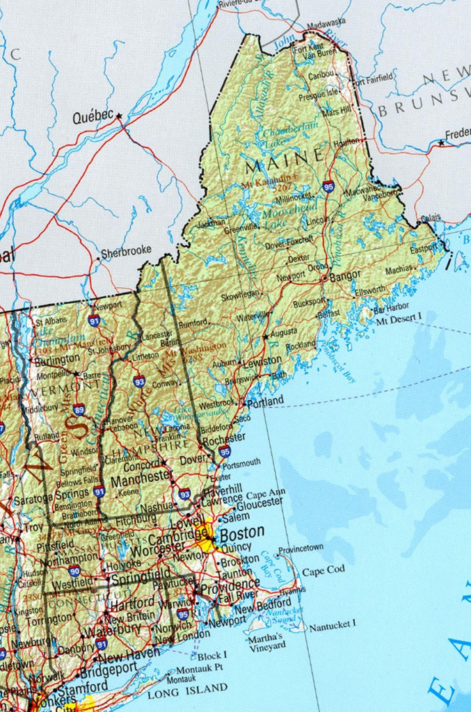 Reference Map Of New England State, Ma Physical Map | Crafts | Printable Map Of New England Usa