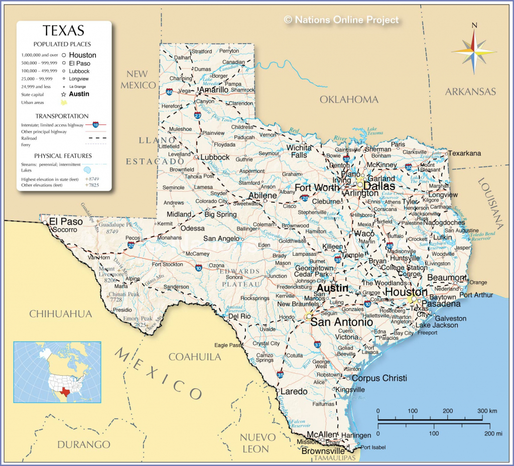 Reference Maps Of Texas, Usa - Nations Online Project - Complete Map | Printable Map Of Texas Usa