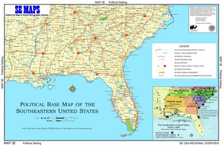 Printable Map Of Se United States