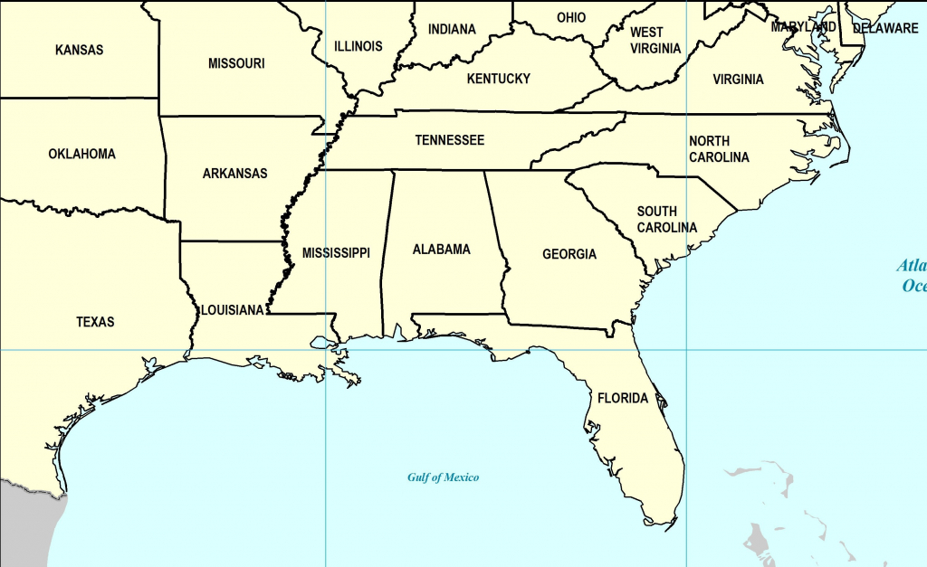 Southeast Us Map Printable New Southeast Us States Blank Map | Printable Map Southeast United States