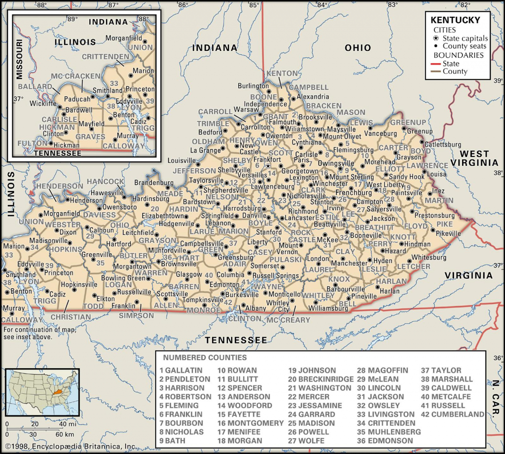 State And County Maps Of Kentucky | 7 Regions Of The United States Printable Map
