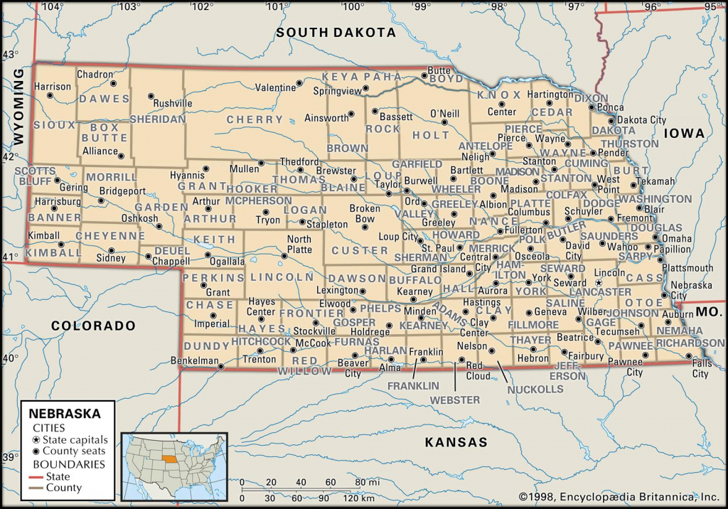 State And County Maps Of Nebraska | Printable Map Of Ne United States
