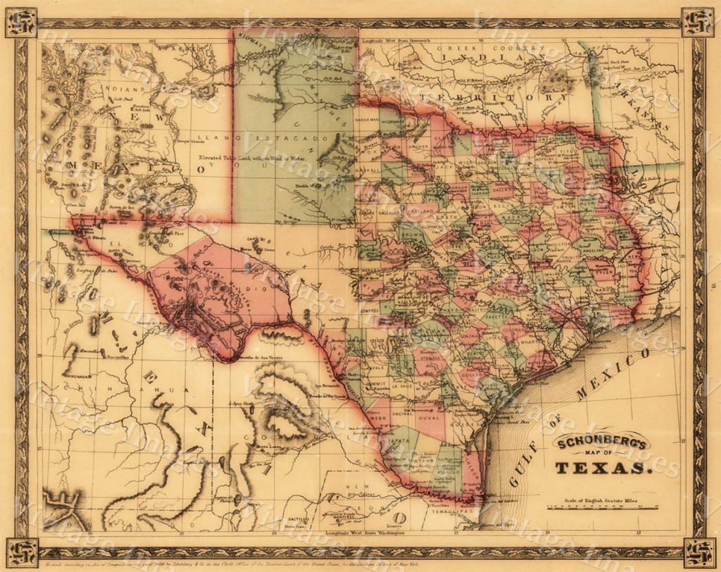 Texas Map Giant 1866 Old Texas Map Old West Map Antique | Giant Printable United States Map