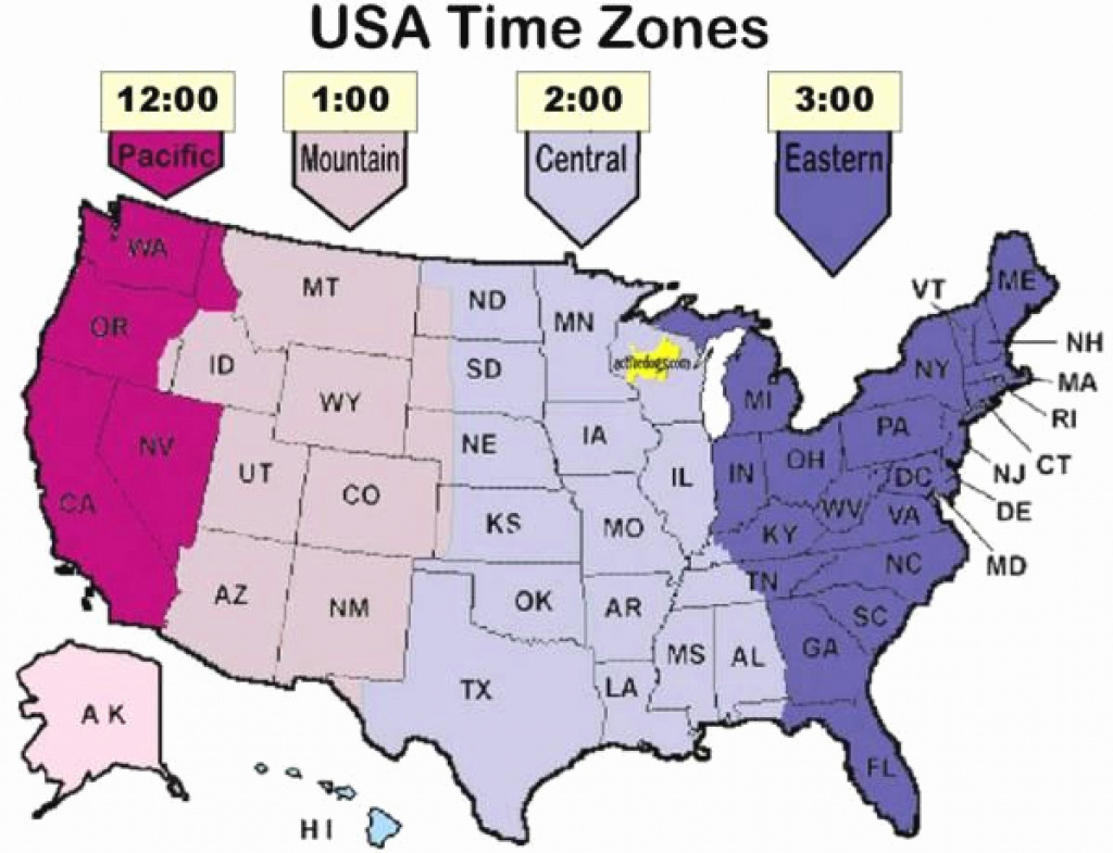 Time Zone Map For Usa Map Of Timezones Usa Lovely United States Time | Printable Map Of Usa Time Zones