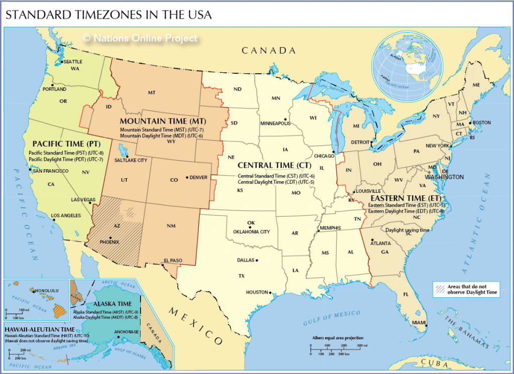 Time Zone Map Of The United States - Nations Online Project | Printable Color Us Timezone Map