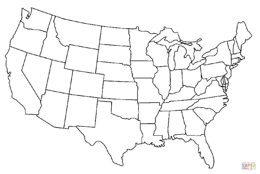 United States Map Coloring Page Printable Save Printable Blank Us   Printable United States Map Color