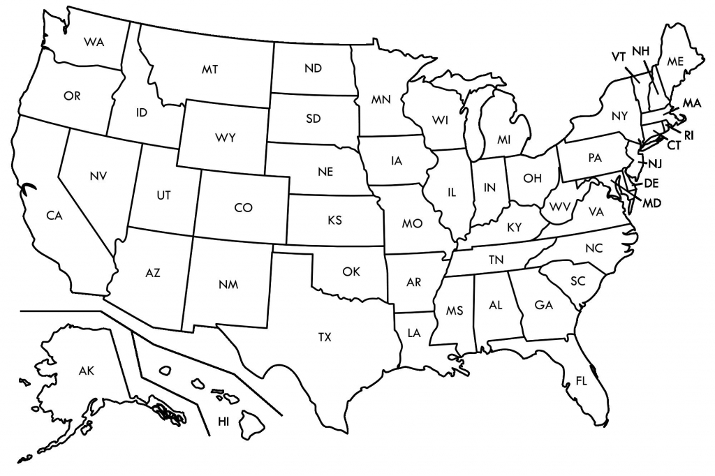 United States Map Labeled Printable Refrence Simplified Map Us | Printable Map Of Usa With Abbreviations