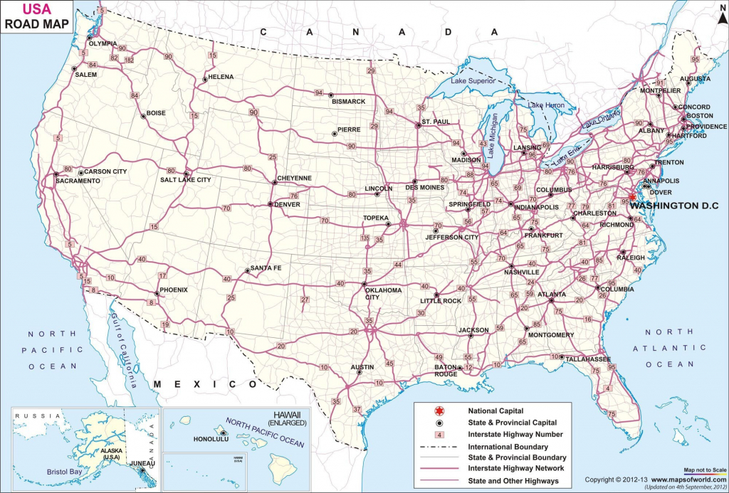 United States Map Of Major Highways Save Printable Us Map With Major   Printable Map Of The United States With Interstates