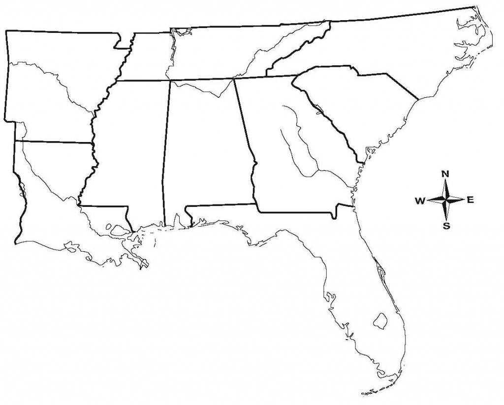 United States Map Outline Black And White Us Southeast Region Blank | Free Printable Map Of The Southeastern United States