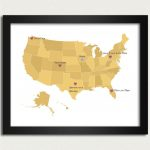 United States Map / Personalized Map In Yellow   Family Is Where The | 8X10 Printable Us Map