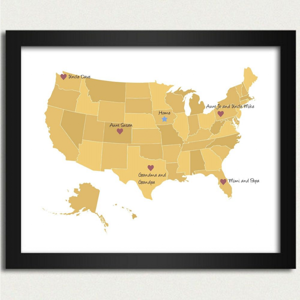 United States Map / Personalized Map In Yellow - Family Is Where The | 8X10 Printable Us Map