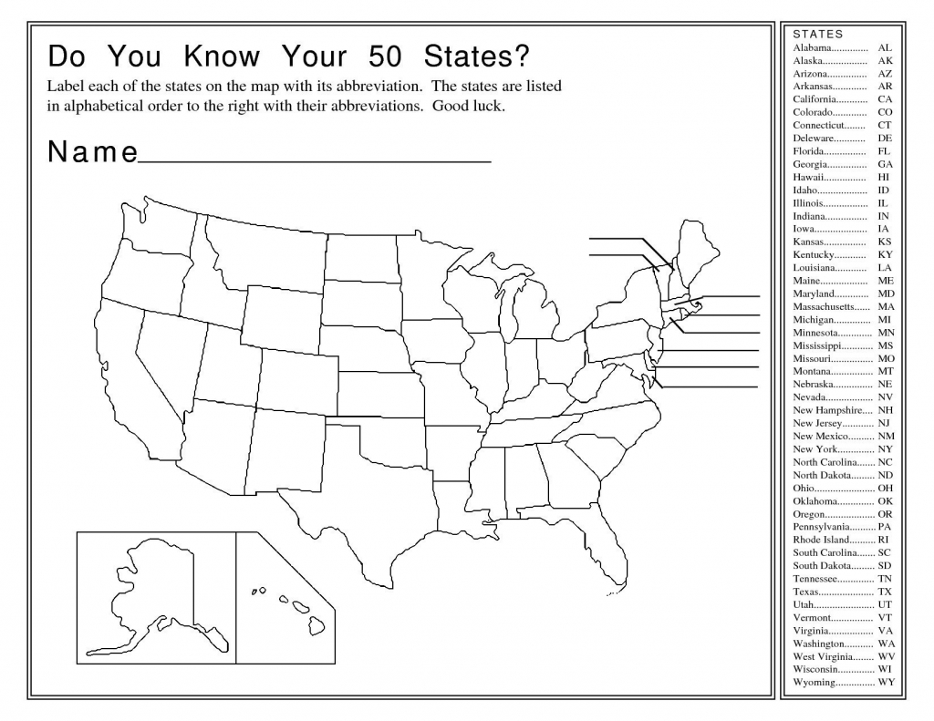 United States Map Quiz Answers Save Usa Blank Printable Map With | Us Map Quiz Printable Free