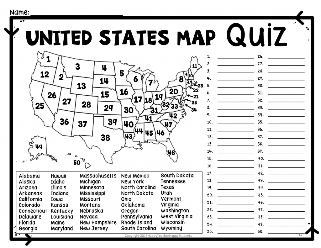 United States Map Quiz & Worksheet: Usa Map Test With Practice | United States Study Map Printable