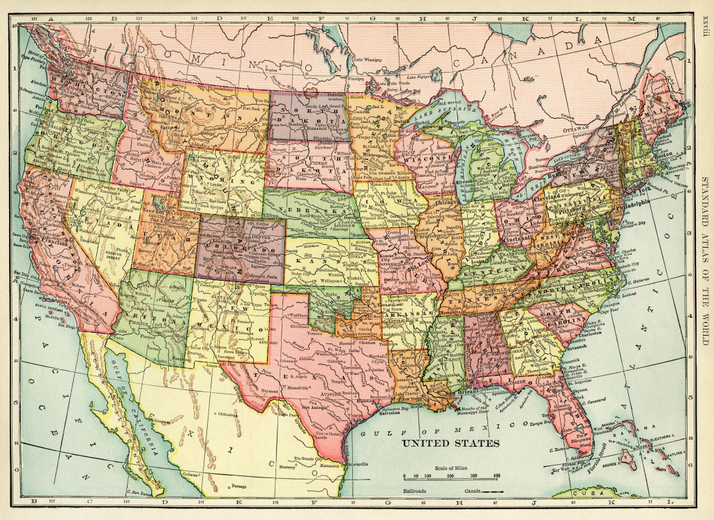 United States Map, Vintage Map Download, Antique Map, History | Printable Geographical Map Of The United States