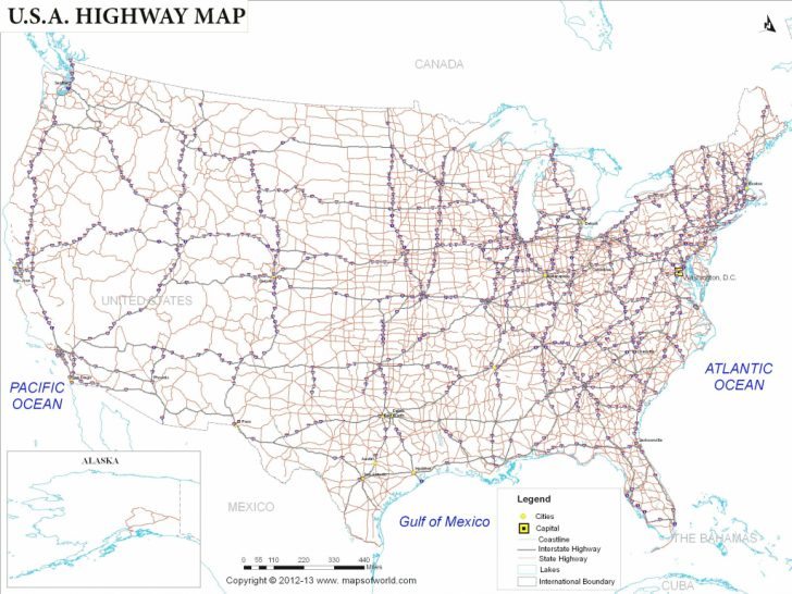 Printable United States Map With Interstates