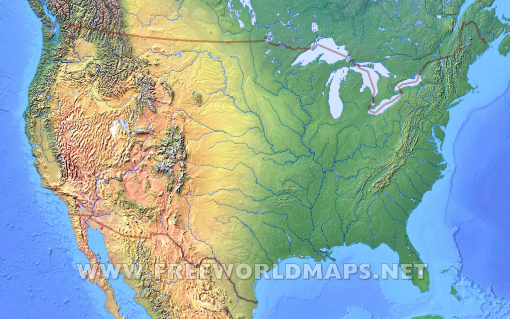 United States Physical Map | Printable Blank Physical Map Of The United States