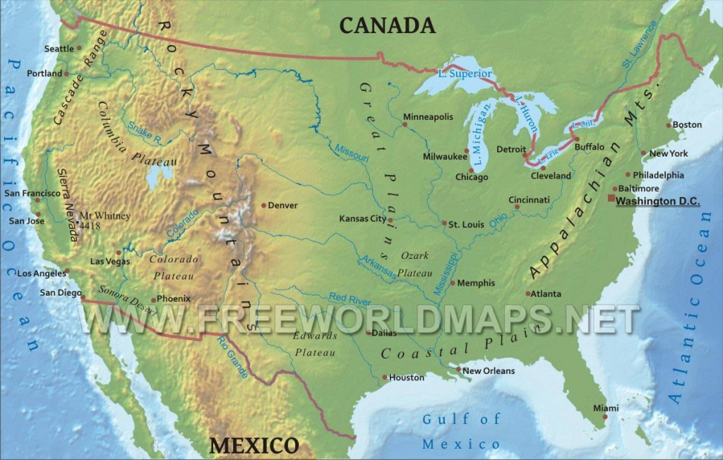 United States Physical Map | Printable Us Map With Mountains And Rivers