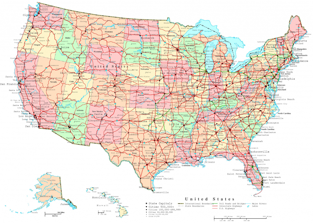 United States Printable Map | Us Map With Cities And States Printable