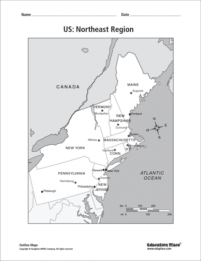 Us Capitals Map Quiz Printable New Northeast Region Map With | Printable Northeast Us Map