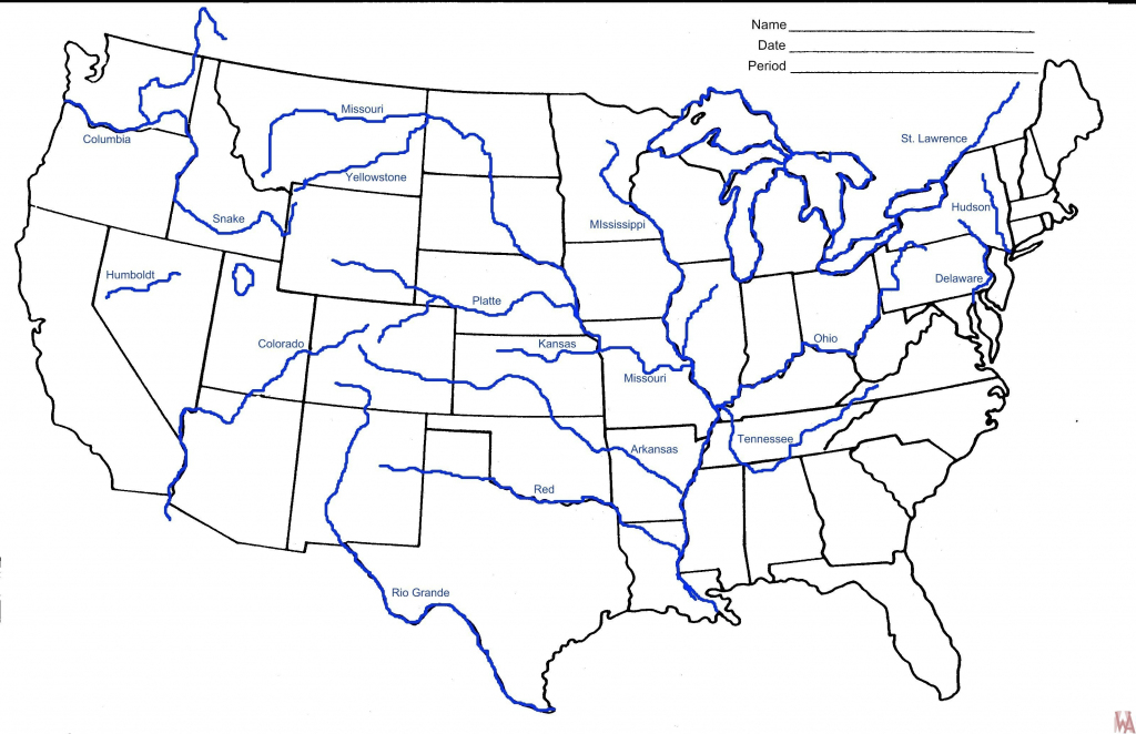Us Major Rivers Map Printable New Unlabeled Map Us Rivers Us Rivers | Big Printable Us Map