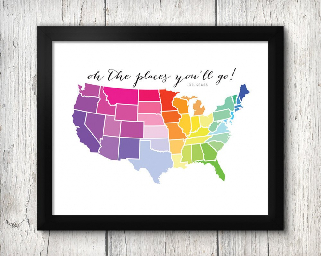 Us Map Download Rainbow Printable 8X10 | Etsy | 8X10 Printable Us Map