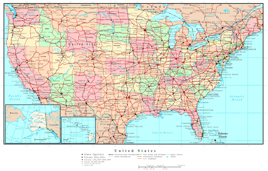 Us Map Of States Printable Large Detailed Political And Road Map Of | United States Travel Map Printable