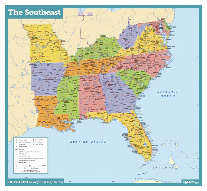 Printable Map Of Se Usa
