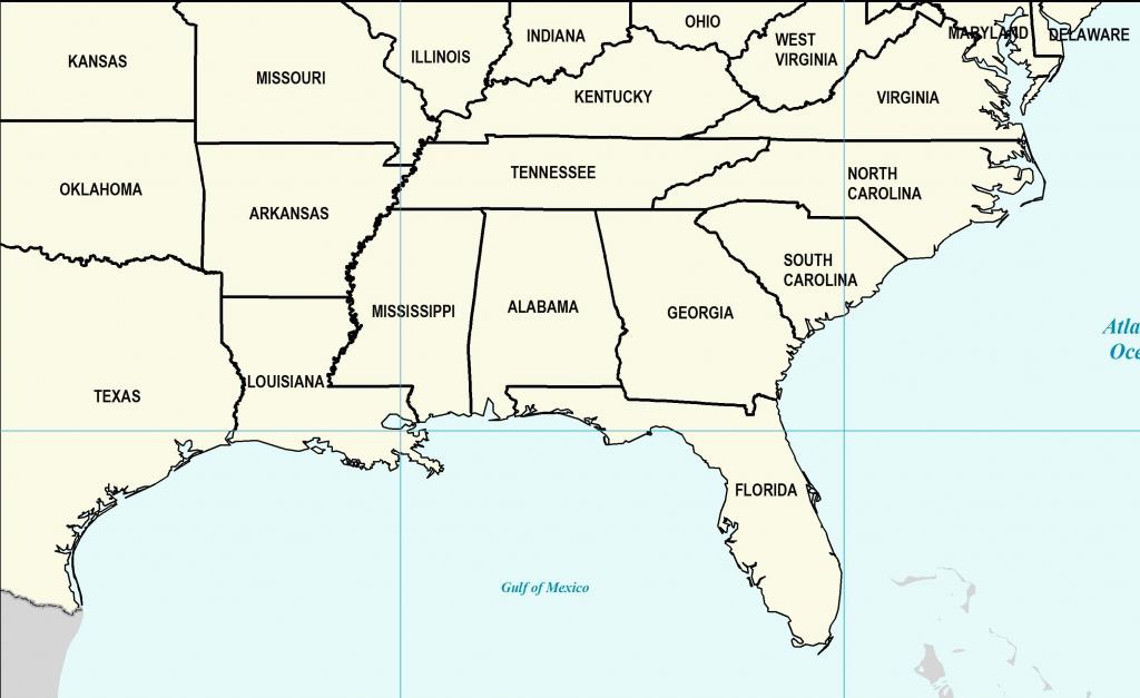 Us Map Southeast Printable Map Of Se Usa 1 Inspirational Printable   Printable Map Of Southern Usa