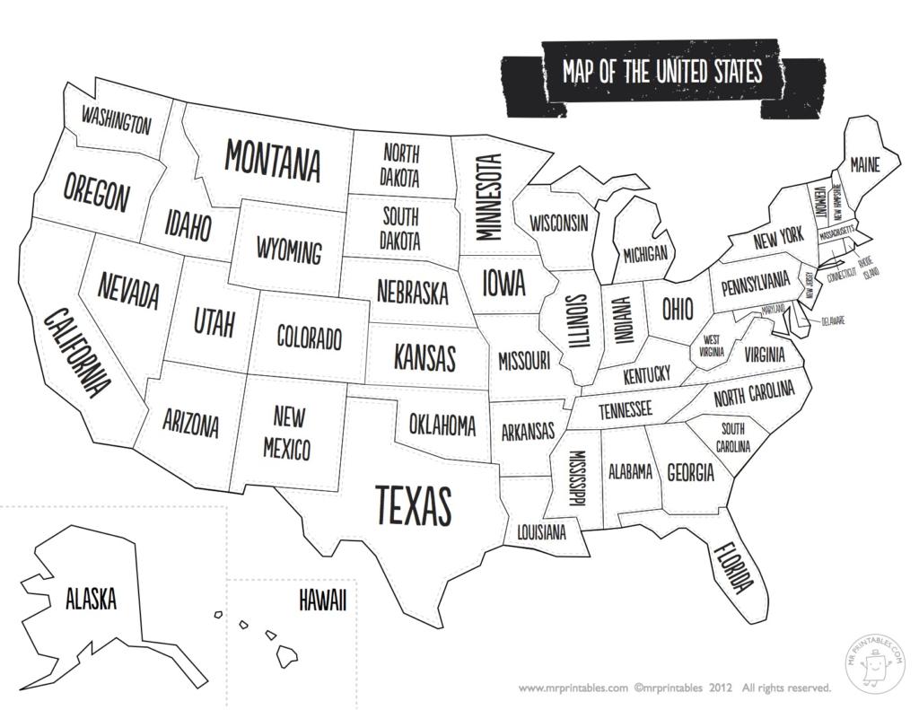 Us Map The South Printable Usa Map Print New Printable Blank Us   Printable Map Of Us Showing States