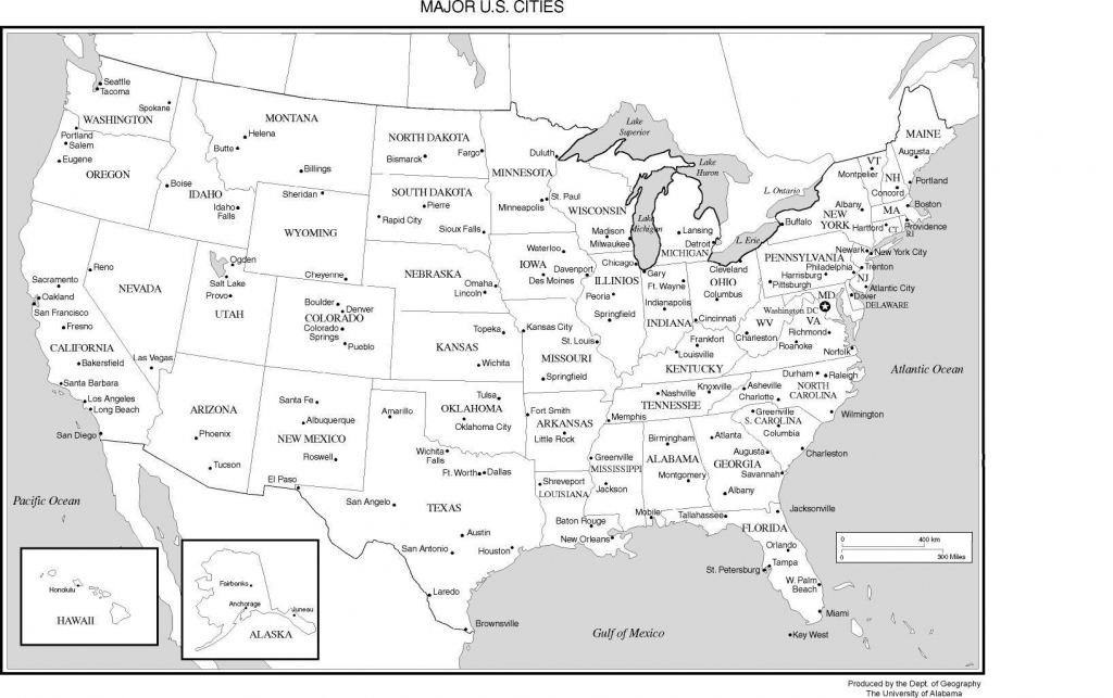 Us Map With Cities Printable - Earthwotkstrust | Printable Map Of Usa Cities