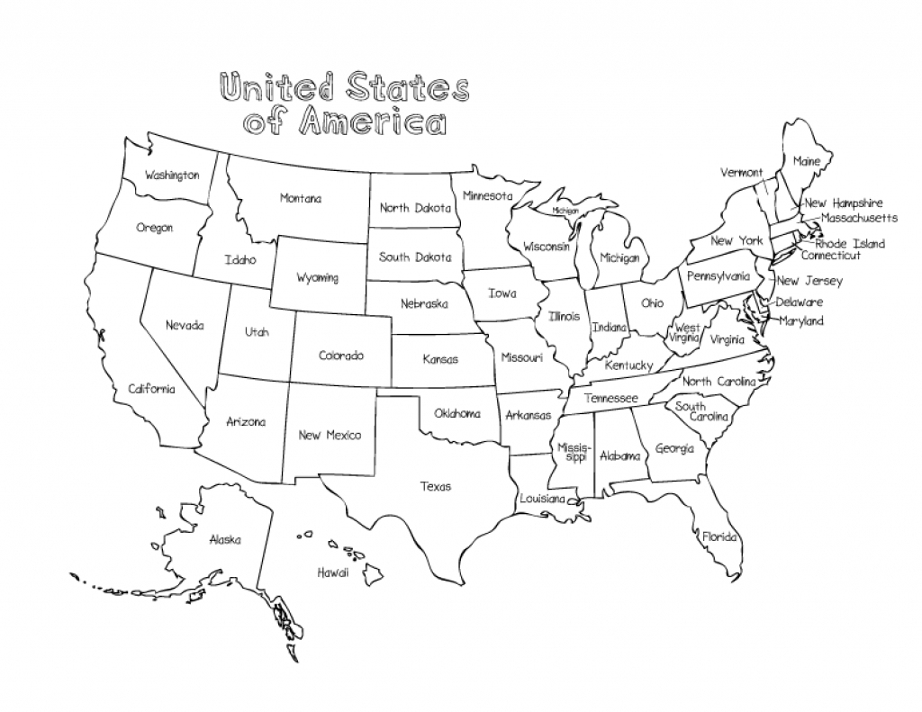 Us Map Without State Names Printable Coloring Map Us And Canada | Printable Us Map For Coloring