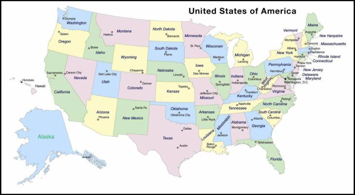 Printable Map Of Usa With Capital Cities