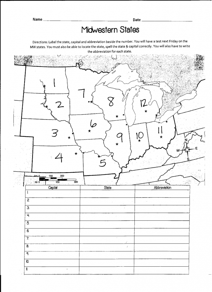 Us Midwest Region Map Blank Labelmidwest.gif Awesome Midwest Region | Printable Us Map Quiz States And Capitals
