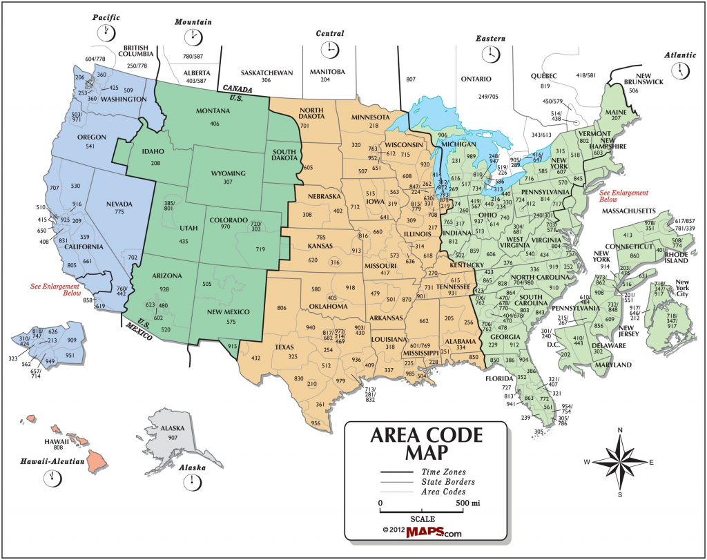 Usa Area Code And Time Zone Wall Map - Maps | Printable Us Timezone Map With Area Codes