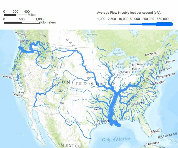 Printable Us Map With Rivers