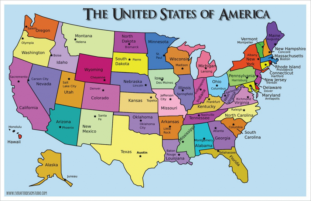 Usa Map - States And Capitals - Printable Us Map With States And   Printable Map Of Us Capitals