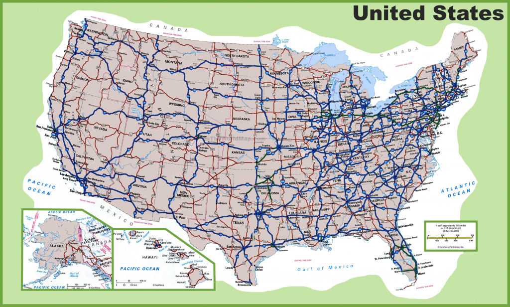 Usa Road Map   Printable Map Of The United States With Interstates