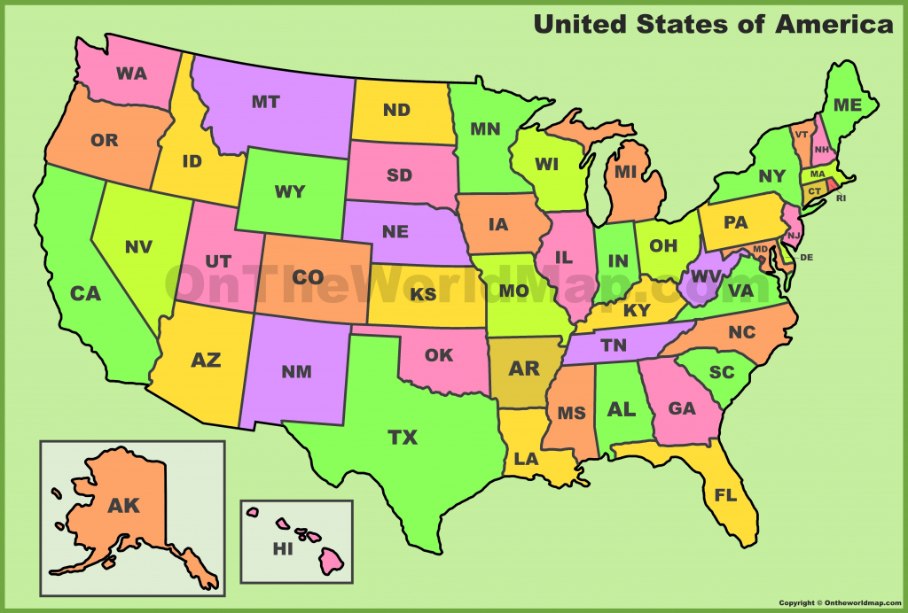 Usa State Abbreviations Map | Printable Map Of The United States With Abbreviations